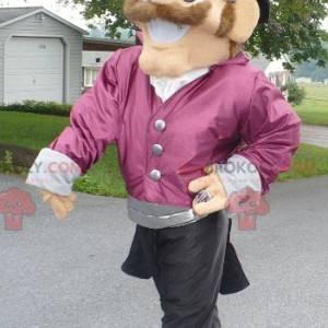 Uśmiechnięty mężczyzna maskotka ubrany w bardzo elegancki strój