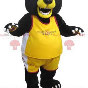 Big black and yellow bear mascot in sportswear - Redbrokoly.com