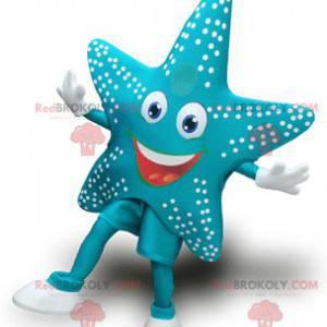 Mascotte delle stelle marine blu molto sorridente -