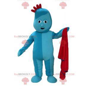 Blue snowman mascot with a red crest - Redbrokoly.com