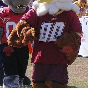2 maskoti, hnědý a bílý orel a šedý vlk - Redbrokoly.com