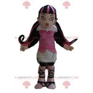 Gotycka maskotka dziewczyna z kolorowych włosów - Redbrokoly.com