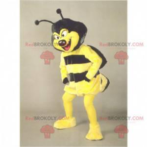 Maskot žluté a černé vosy se zlomyslným vzhledem -