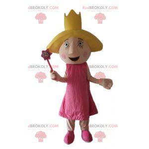 Princezna víla maskot v růžových šatech s křídly -