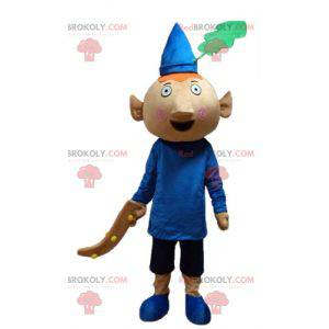 Red pixie mascot dressed in blue outfit with a hat -