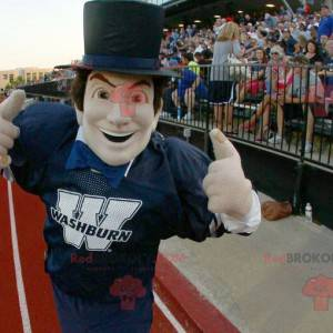 Mascot man in sportswear with a top hat - Redbrokoly.com