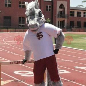 Gray horse donkey mascot in sportswear - Redbrokoly.com
