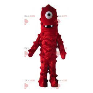 Obří a zábavný červený kyklop mimozemský maskot - Redbrokoly.com