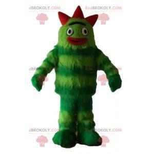 Alles haarige zweifarbige grüne Monster Maskottchen -