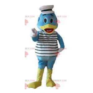 Modré a žluté kachní maskot oblečený jako námořník -