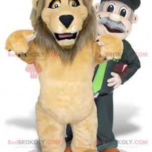 2 Maskottchen ein brauner Löwe und ein Tierpfleger -