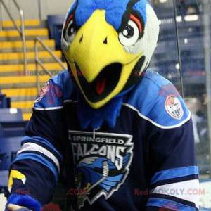 Orel maskot pták modrá bílá a žlutá - Redbrokoly.com