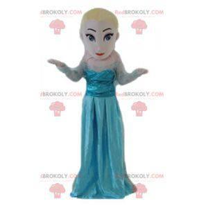 Blonde princess girl mascot in blue dress - Redbrokoly.com