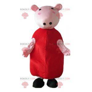 Růžové prase maskot s červenými šaty - Redbrokoly.com