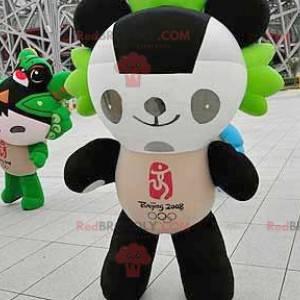 Černá bílá a zelená panda maskot - Redbrokoly.com