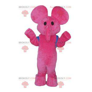 Pink elephant mascot with a blue schoolbag - Redbrokoly.com