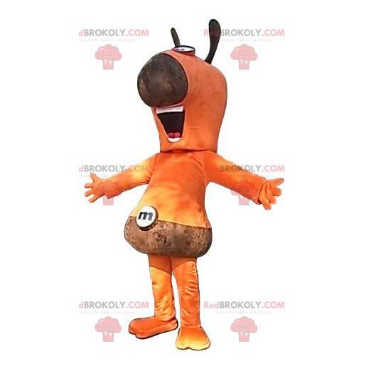 Orange and brown snowman mascot - Redbrokoly.com