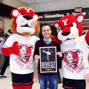 2 maskoti lva a lvice červené a bílé - Redbrokoly.com