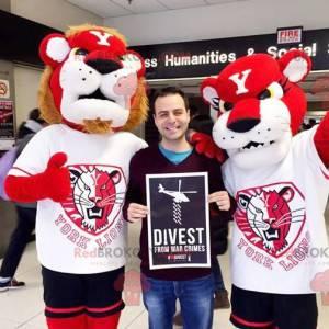 2 Maskottchen von Löwe und Löwin rot und weiß - Redbrokoly.com
