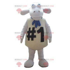 Sehr lustiges und originelles großes weißes Schafmaskottchen -
