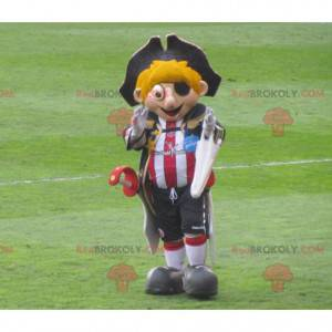 Blond pirate mascot with a sports outfit and a hat -