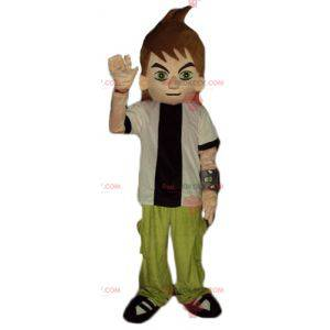 Teen boy mascot in black and white green outfit - Redbrokoly.com