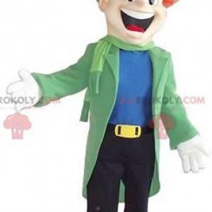 Maskot usmívající se muž oblečený ve velmi barevném oblečení -