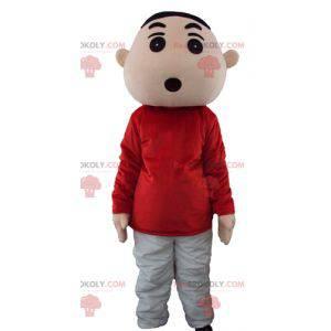 Ung gutt maskot i rødt og grått antrekk - Redbrokoly.com