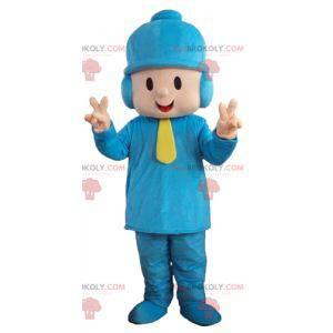 Chlapec maskot v modrém oblečení s čepicí - Redbrokoly.com