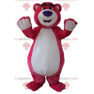 Big pink and white teddy bear mascot plump and funny -