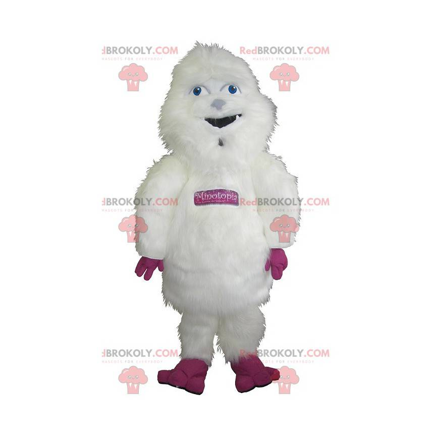 Velký chlupatý bílý a růžový maskot yeti - Redbrokoly.com