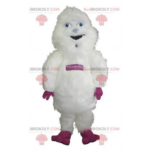 Stor hårete hvit og rosa yeti maskot - Redbrokoly.com