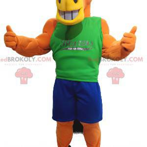 Orange horse mascot with a blue and green outfit -
