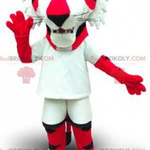 Maskottchen roter und weißer Tiger mit gelben Augen -