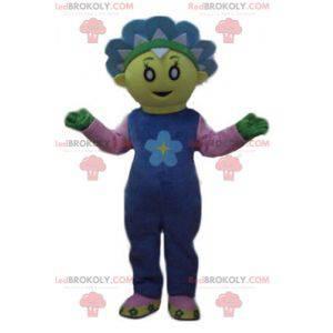 Maskottchen hübsche gelbe und blaue Blume niedlich und bunt -