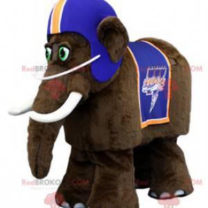 Maskot hnědý mamut s modrou helmou - Redbrokoly.com
