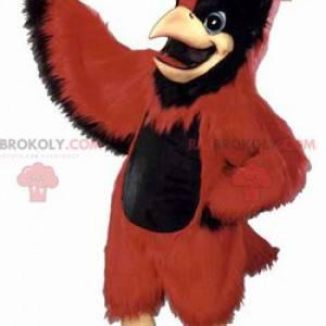 Sehr majestätisches rotes und schwarzes Vogelmaskottchen -
