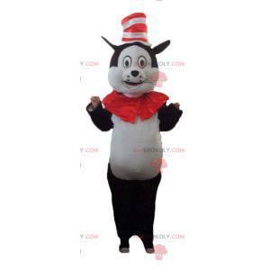 Großes Schwarzweiss-Katzenmaskottchen mit einem Hut -