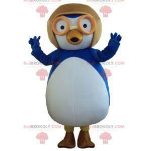 Mascot big blue and white bird with an aviator helmet -