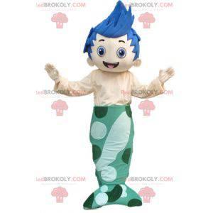 Maskot chlapec mořská panna s modrými vlasy - Redbrokoly.com