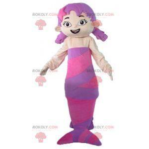 Maskotka różowo-fioletowa syrenka piękna i kobieca -