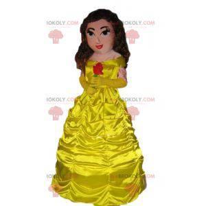 Princess mascot wearing a beautiful yellow dress -