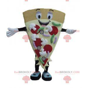 Giant smiling and colorful pizza slice mascot - Redbrokoly.com