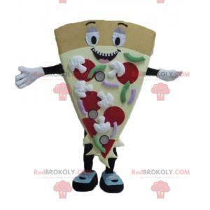 Mascotte gigante sorridente e colorato della fetta di pizza -