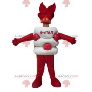 Obří bílé a červené asijské cukroví maskot - Redbrokoly.com
