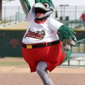 Maskot velký zelený a šedý pták oblečený v červené a bílé -
