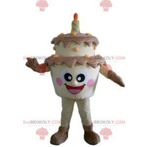 Obří hnědý a žlutý narozeninový dort maskot - Redbrokoly.com