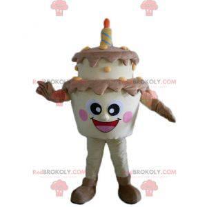 Riesiges braunes und gelbes Geburtstagskuchenmaskottchen -