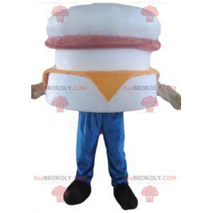 Maskot obří hamburger bílá růžová a oranžová - Redbrokoly.com