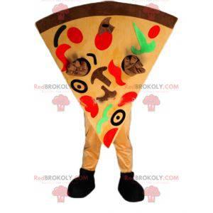Mascote gigante de fatia de pizza muito colorido -